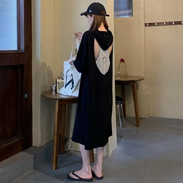 【ワンピース】カジュアル半袖フード付きAライン透かし彫りワンピース30278053