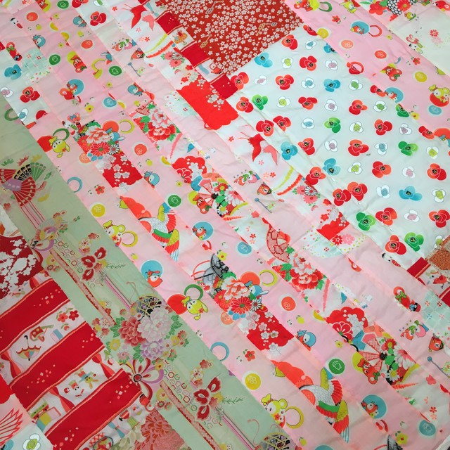 Vintage 着物のピンクキルト*メリンス&モスリン