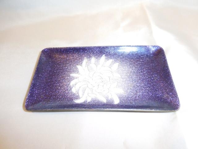 銀彩七宝菊文楊枝皿(共箱)enamel plate