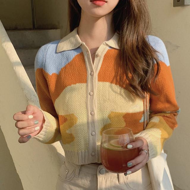 【アウター】韓国系折り襟ショート丈配色シングルブレストカーディガン40593096
