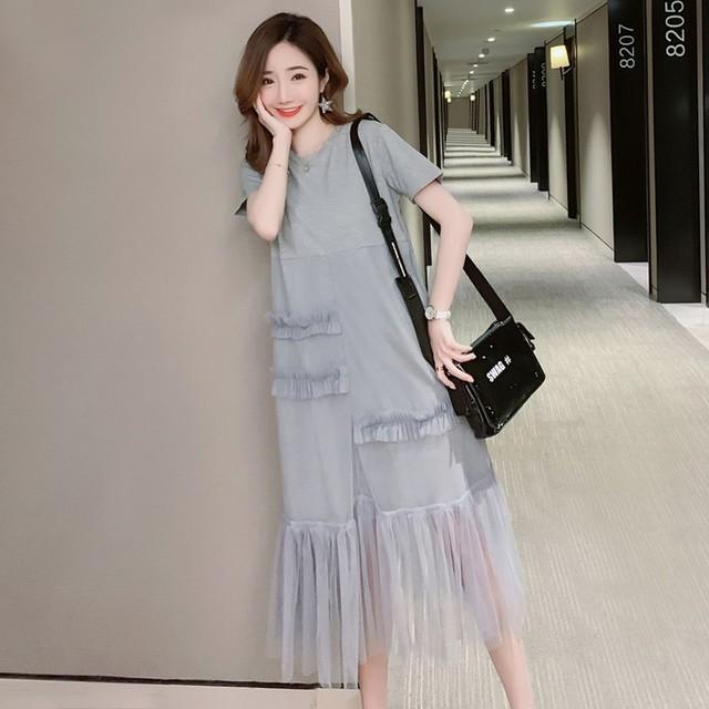 【dress】カジュアル半袖ストレート切り替えギャザー飾りデートワンピース