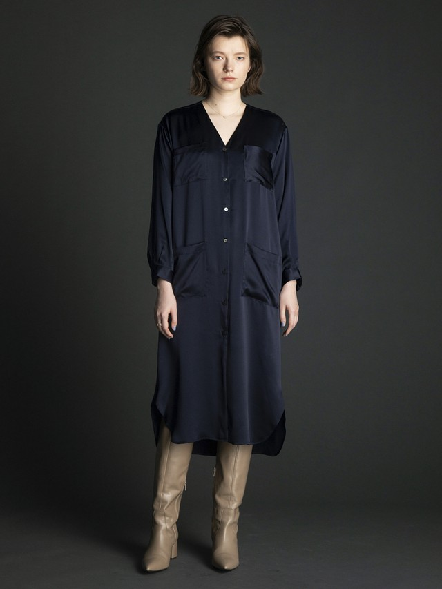 v-neck silk long shirt dress