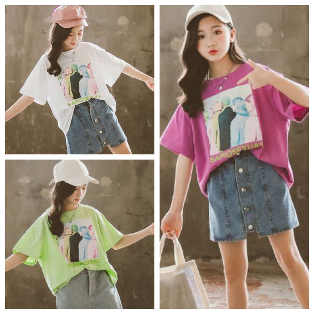 110~170cm 3カラー ★ プリント カラー Tシャツ 半袖