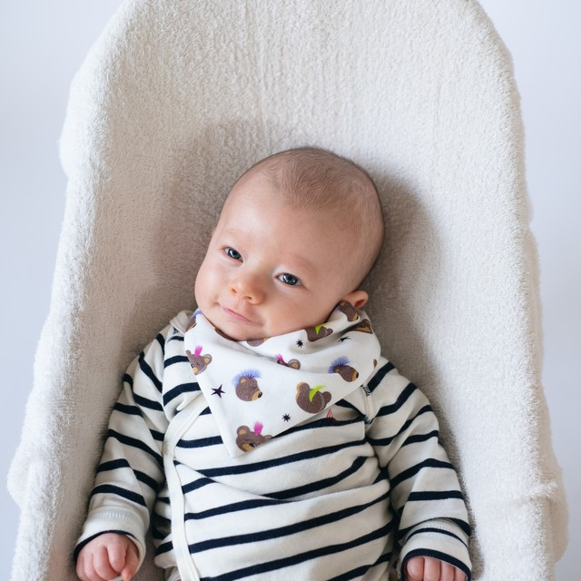 organic cotton bibs リバーシブルスタイ 'Life's a beach navy/white'