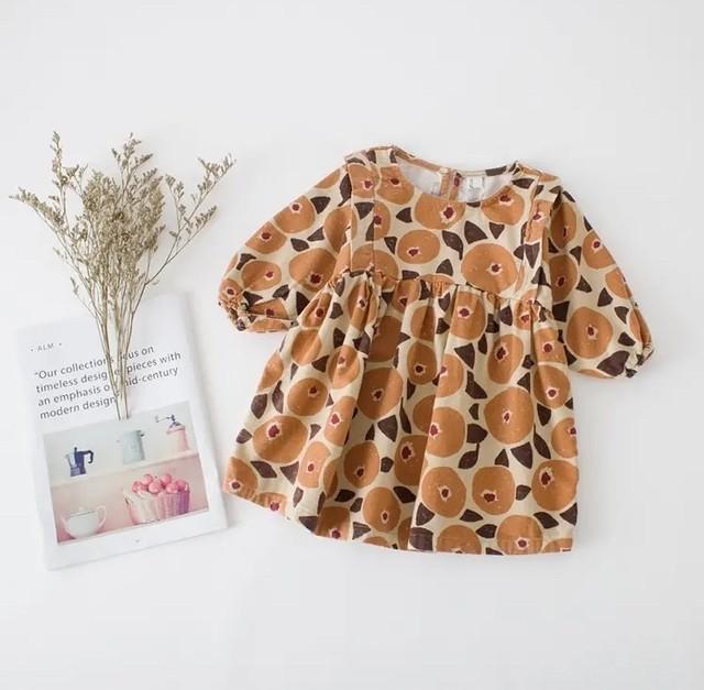 【即納】北欧風  花柄ワンピース バルーン袖