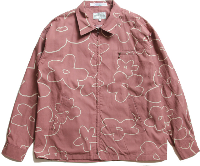 FLOWERED PATTERN ZIP BLOUSON-BROWN