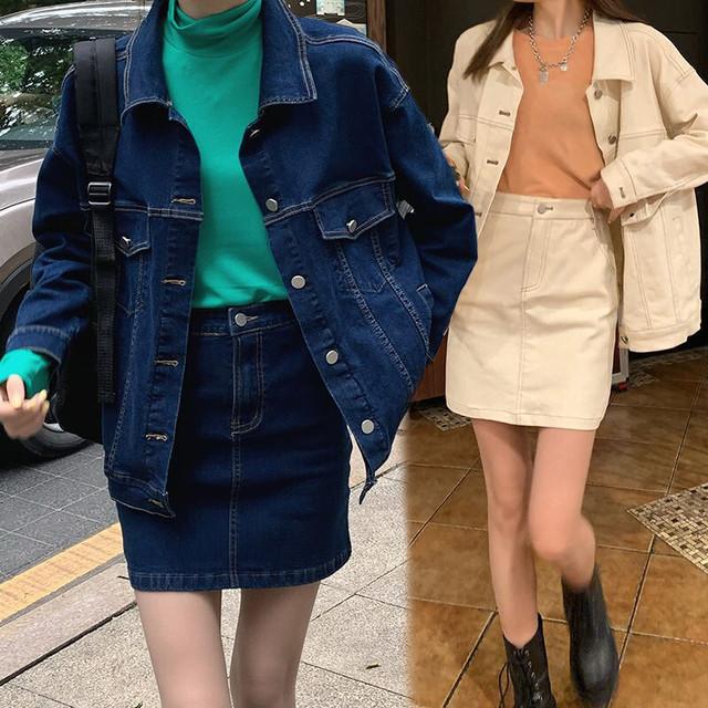 セットアップ デニムジャケット + デニムスカート ルーズ 薄手 長袖 韓国ファッション レディース 2点セット カジュアル ストリート系 大人可愛い ガーリー / Denim jacket is A-line skirt two-piece (DTC-638039792270)