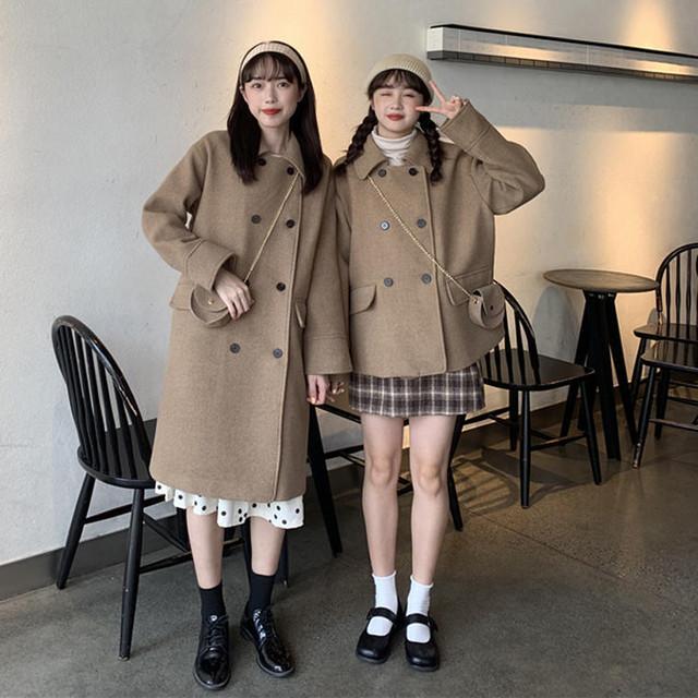 【送料無料】 丈感選べる2タイプ♡ フレンチ レトロ ウール コート ダブルボタン アウター