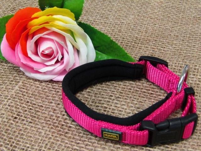 ドッグ 首輪/ピンク【濃厚ピンクがブラックとマッチして可愛すぎない、メンズわんちゃんでも馴染みのいいデザインです!】