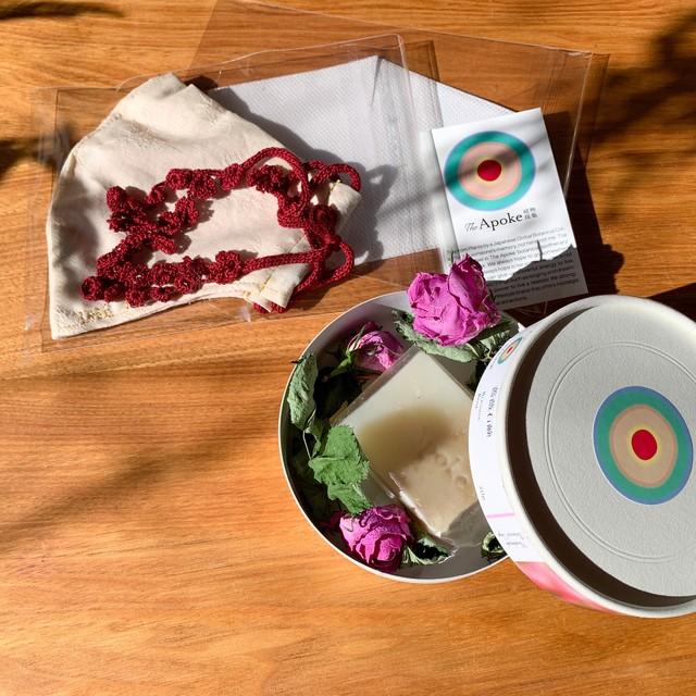 【予約】Botanical mask &Botanical soap /  White Petals (外側白・内側ピンク・紐赤)