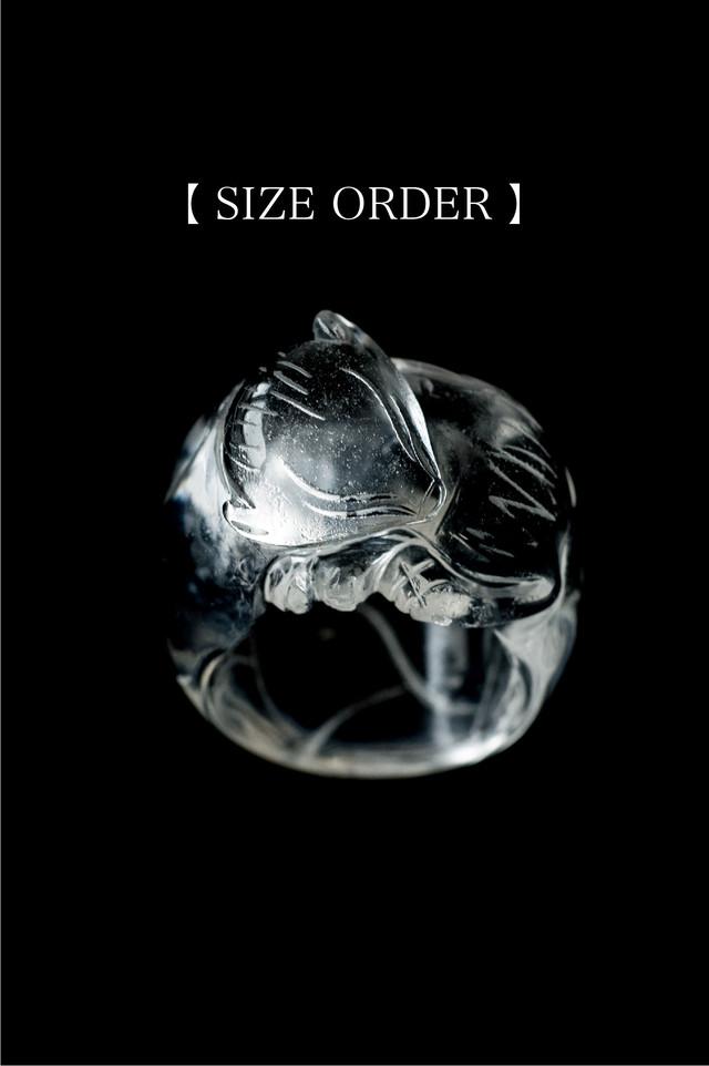 【SIZE ORDER 】Carving Quartz Ring  Baby Ninetails Fox