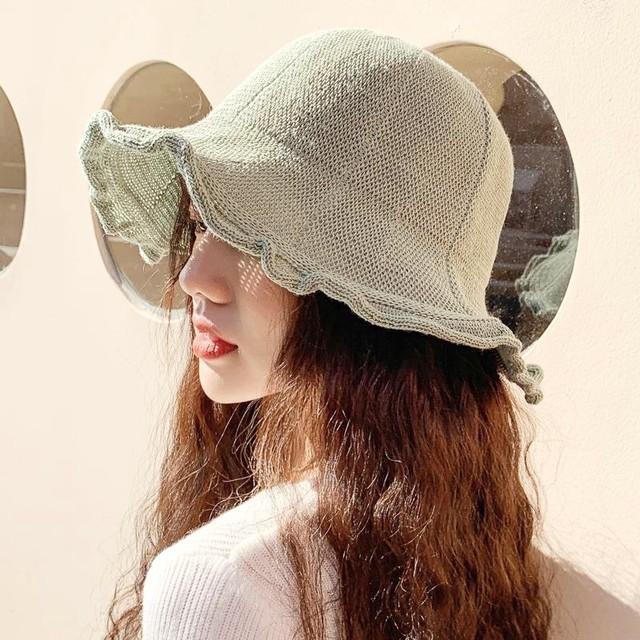 つば広 ハット ネット バケット 帽子 8色 B3887
