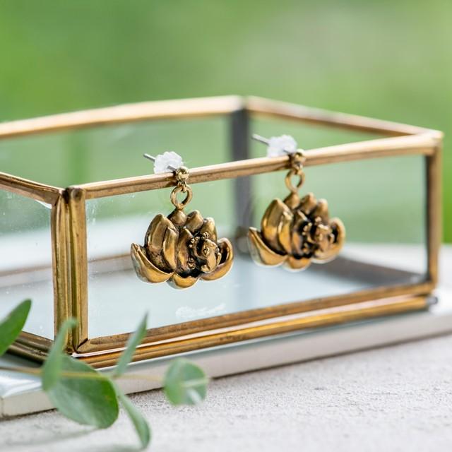 蓮の花を愛でる蛙の真ちゅうピアスorネックレス