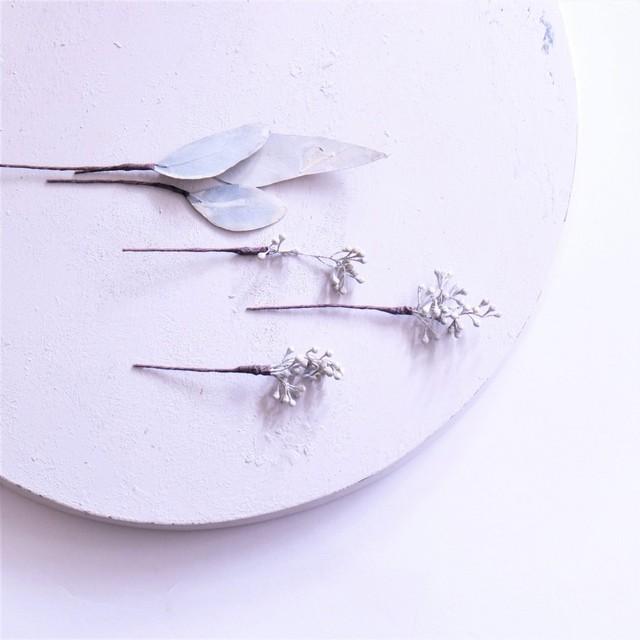 〖 ユーカリポプラス・ウォッシュホワイト のヘッドドレスパーツ3点 〗お好きなプリザ花材をカスタムメイドでお作り致します
