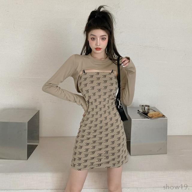 【人気商品】【ワンピース】プルオーバーラウンドネック切り替えファッションセクシーワンピース40833506
