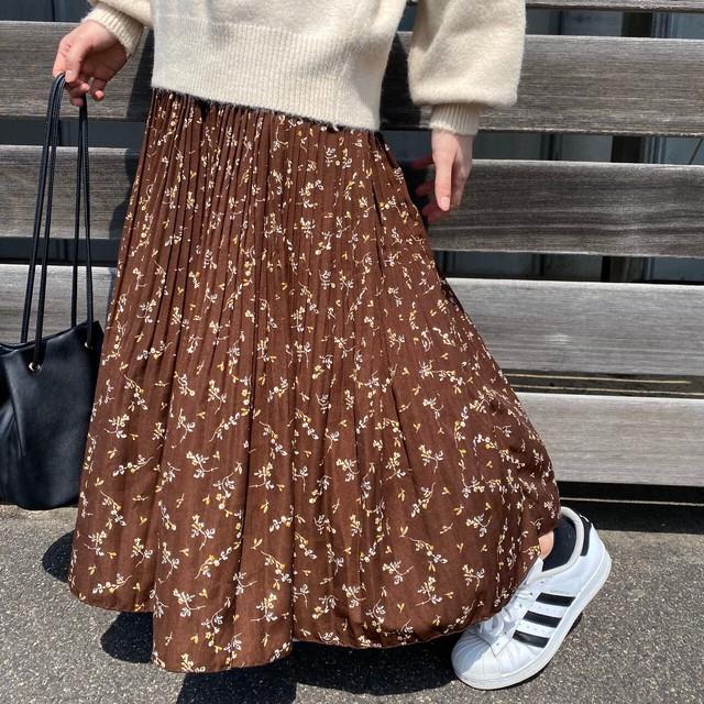 花柄消しプリーツスカート