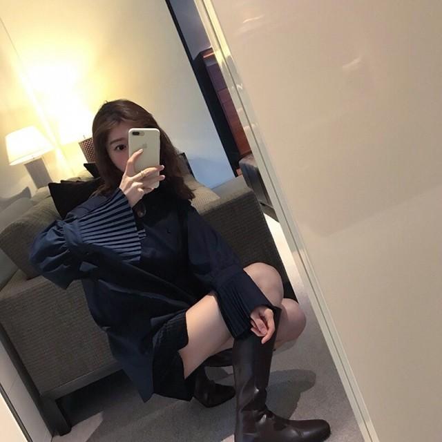 ココスリーブプリーツブラウス ブラウス 韓国ファッション