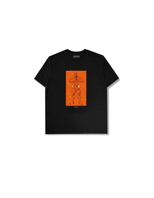 "XENO x BAKI Collaboration T-shirt ""JIN"" BlackOrange"