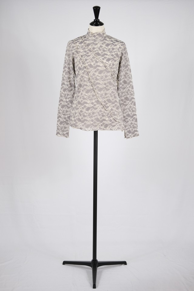 【MURRAL】stretch lace top - gray