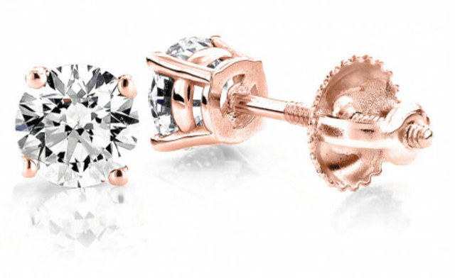 14K ROSE GOLD DIAMOND STUD EARRINGS ROUND DIAMONDS 0.5CT