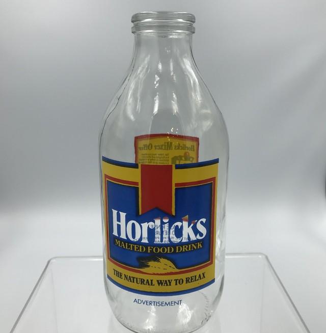イギリス ユニゲート社 広告入り(Horlicks) コーンフレーク ミルクボトル 瓶 ヴィンテージ