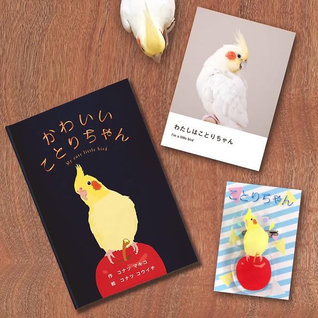 3点セット  絵本『かわいいことりちゃん』(サイン入り)&写真集(非売品)りんごとことりちゃん ブローチ