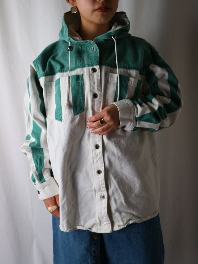 stripe cotton hooded shirt【5503】