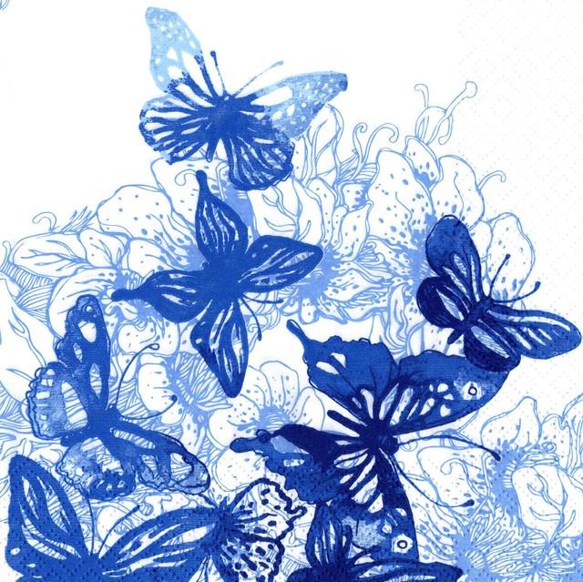 【ti-flair】バラ売り2枚 ランチサイズ ペーパーナプキン Amazing Butterflies ブルー
