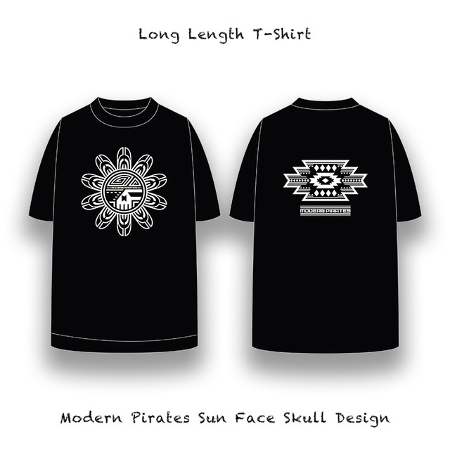 Long Length T-Shirt / Modern Pirates Sun Face Skull Design