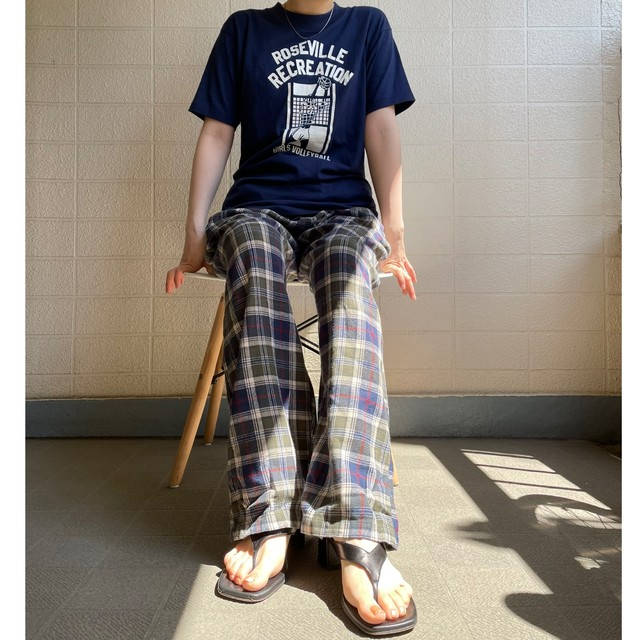 moss green check pajamas pants