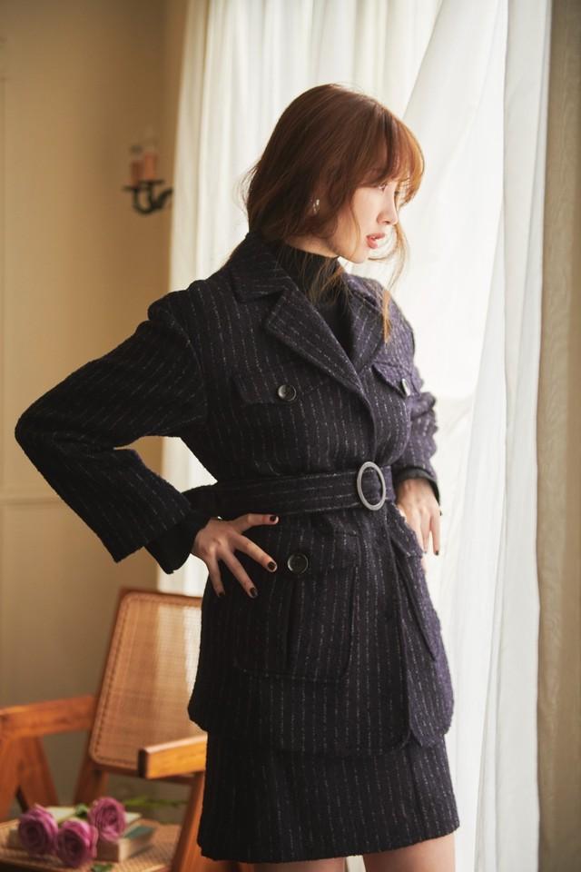 Belted Frayed Tweed Jacket
