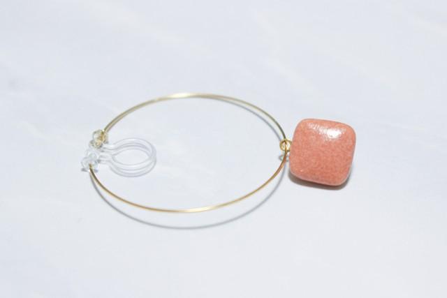 磁器のフープイヤリング/樹脂ピアス【Beige Pink】 *片耳分