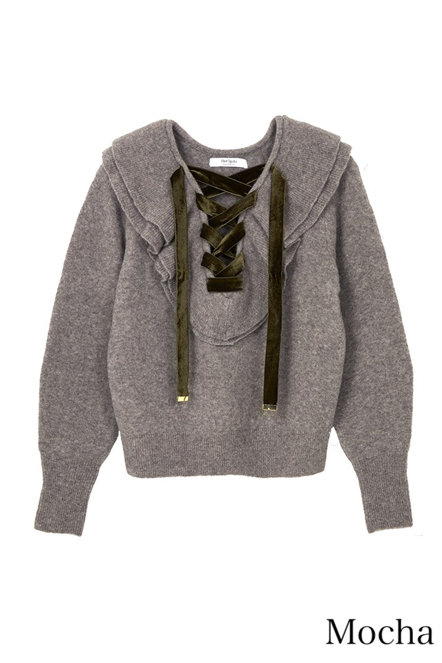 Lace Up Wool-blend Pullover