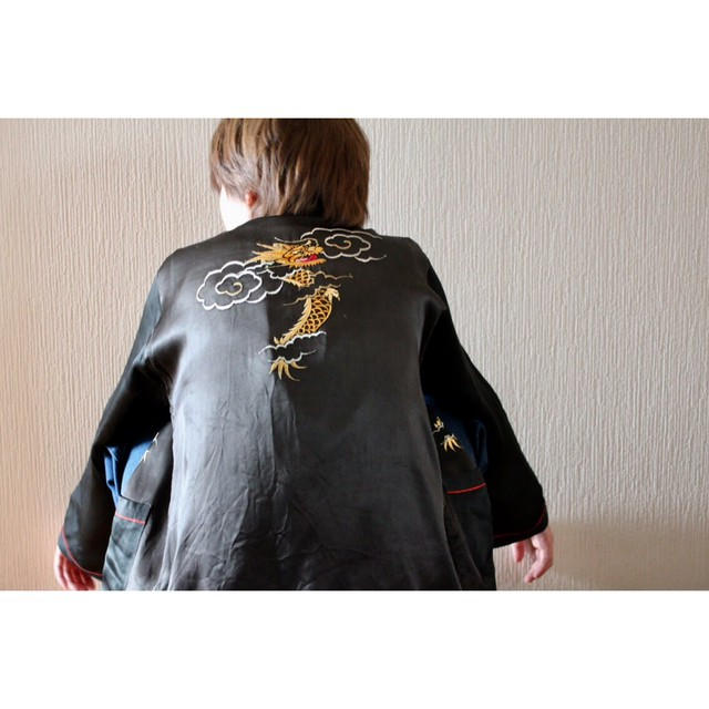 Vintage dragon embroidered jacket