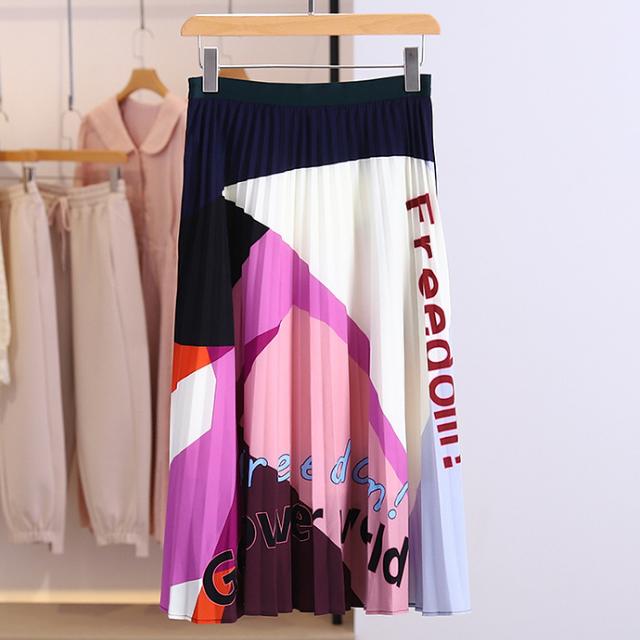 ロゴ コントラストカラー プリーツスカート【R0725】