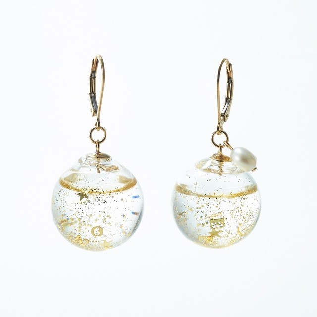Charity : Glass dome french hook pierced earrings  (Champagne Series )