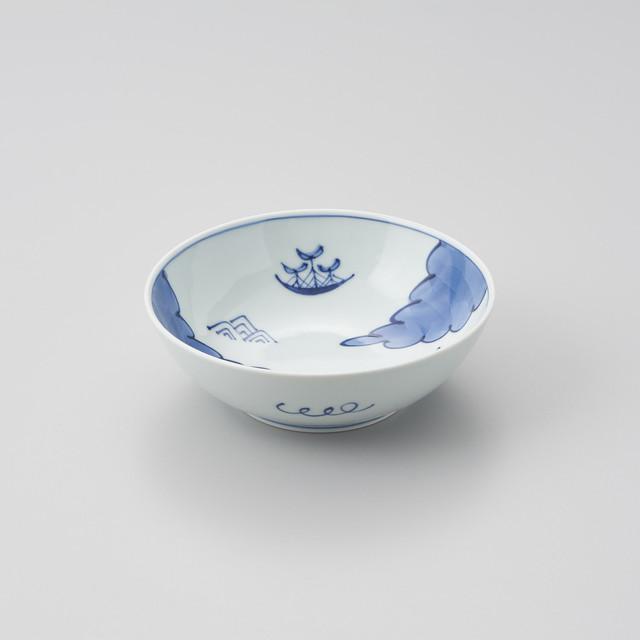 """【青花】""""船と異人"""" 5寸ボウル(雲に帆船)"""