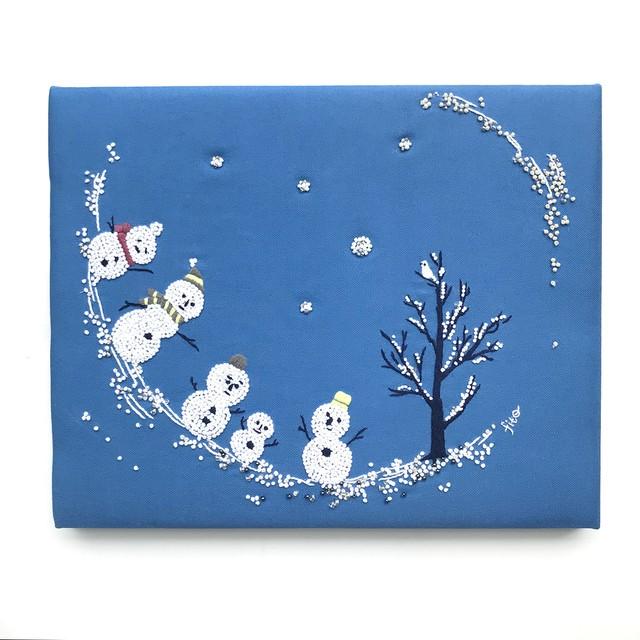 手刺繍 ファブリックパネル「雪ダルマMeeting シリアルNo.2」刺繍パネル