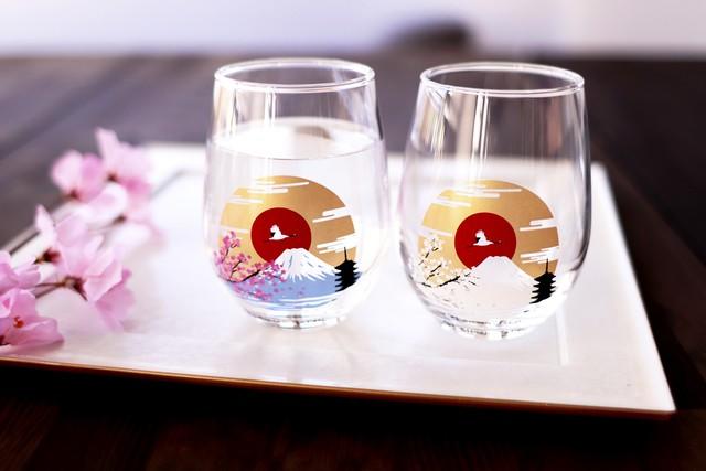 【csf-05s】『冷感富士山』『フリーグラスペアセット』        * 富士山 桜 春 日本 フリーグラスペアセット 贈り物 温度 変化 日本酒 乾杯 グラス ギフト プレゼント お祝い