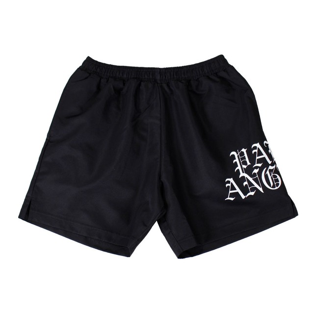 PALM ANGELS Hue Gothic Logo Shorts Black