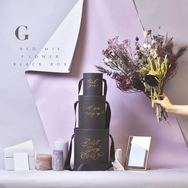 [G]レッドミックスフラワー&ブラックBOX|ウェルカムスペース   メッセージボックスDIYセット