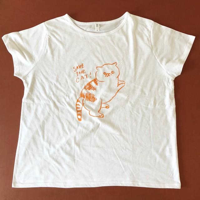 ドルマン レディースTシャツ SAVE THE CATイラスト