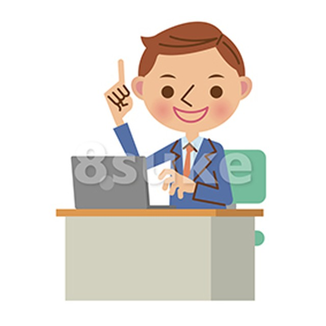 イラスト素材:ノートパソコンを使うビジネスマン/指差し・カメラ目線(ベクター・JPG)