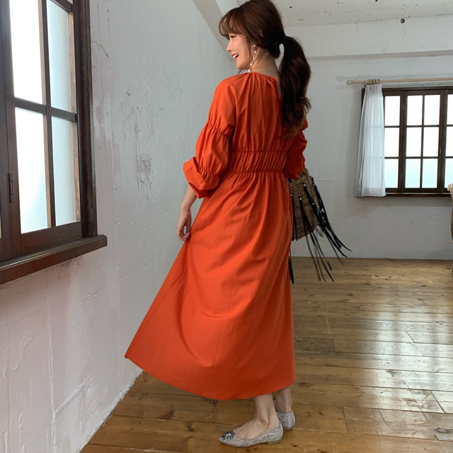 【予約】gather maxi one piece / orange