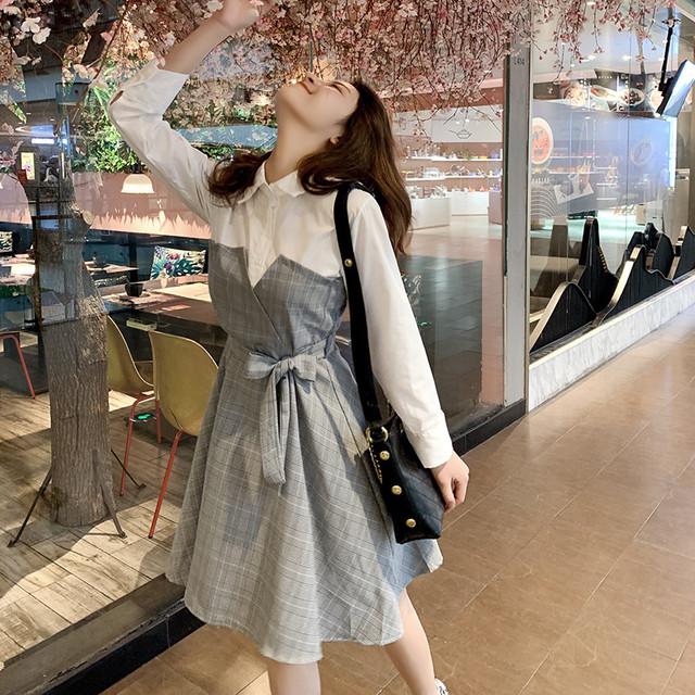 【dress】スウィートチェック柄POLOネックプルオーバー長袖シャツワンピース