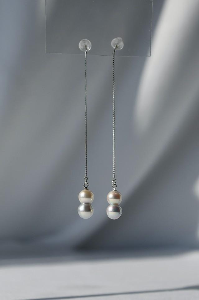 K18WG Akoya Twins Pearl Long Chain Earrings 18金アコヤ双子真珠ロングチェーンピアス(ホワイトゴールド)