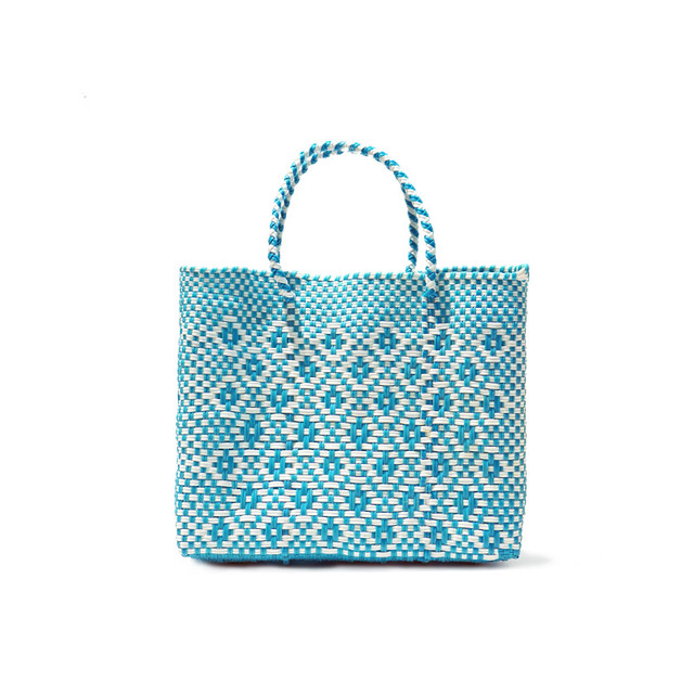 MERCADO BAG ROMBO - White x Light Blue(XS)