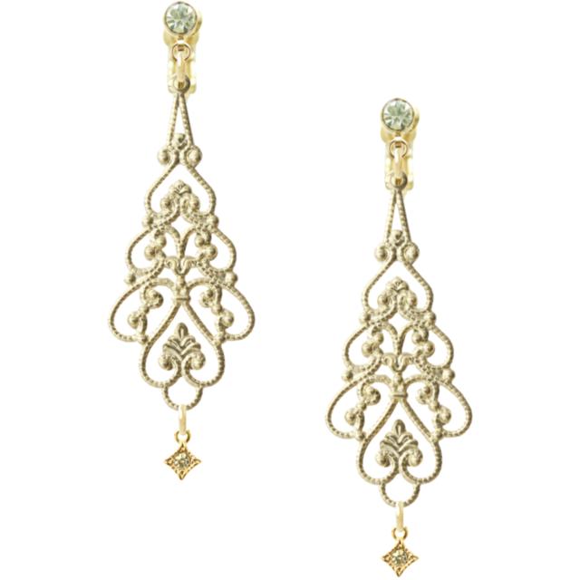 Rhinestone gold elegant earing (イヤリング)