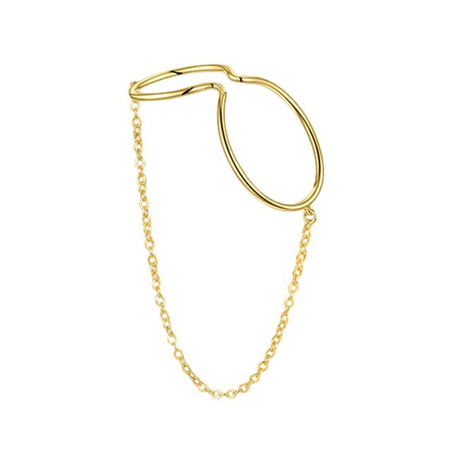 curve line chain earcuff
