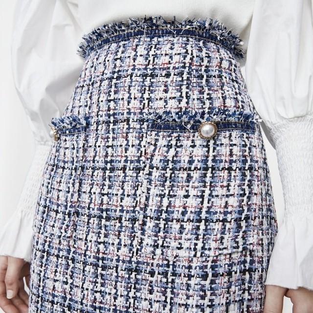 tweed high waist tight skirt